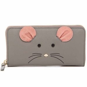 Kate Spade ♠️ Mouse 🐭 Full-Sized Gray Wallet